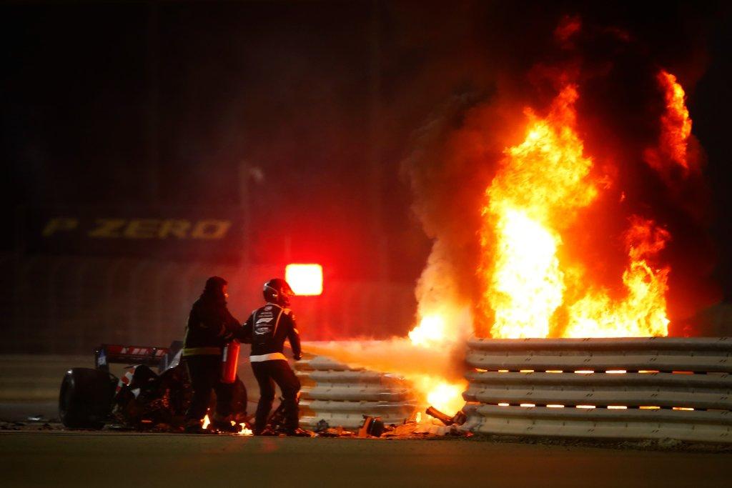 Romain Grosjean Fire