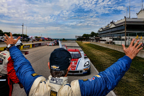 8-10 August 2014, Elkhart Lake, Wisconsin USA Winner Christian Fittipaldi welcomes his teammate Joao Barbosa into Victory Lane 5, Chevrolet, Corvette DP, P, Joao Barbosa, Christian Fittipaldi ©2014, Michael L. Levitt LAT Photo USA