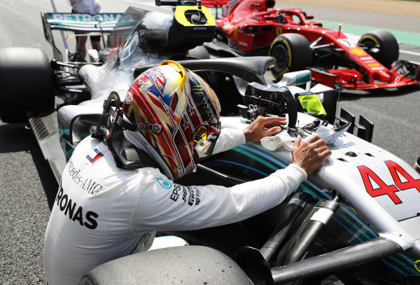 Lewis Hamilton, Mercedes AMG F1 W09, celebrates after taking pole position.