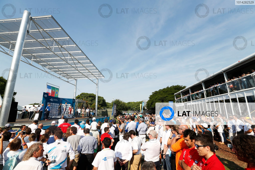 2014 Formula E  Buenos Aires e-Prix, Argentina Saturday 10 January 2015. The podium Photo: Sam Bloxham/LAT/Formula E ref: Digital Image _14P8397