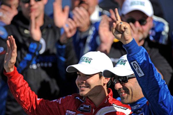 22-25 January, 2015, Daytona Beach, Florida USA Tony Kanaan and Kyle Larson. ?2015, F. Peirce Williams LAT Photo USA