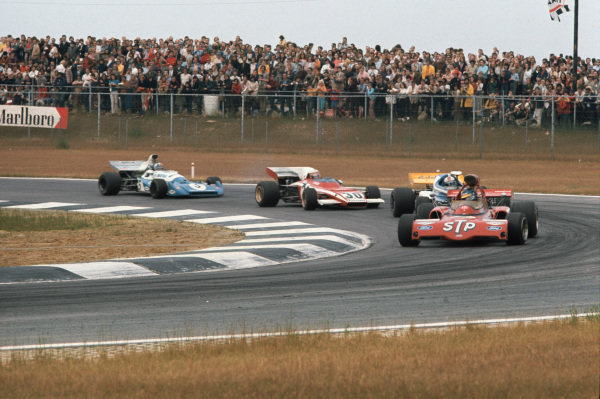 1972 Belgian Grand Prix.  Nivelles-Baulers, Belgium. 2-4th June 1972.  Ronnie Peterson, March 721X Ford, leads Rolf Stommelen, March 721 Ford, Clay Regazzoni, Ferrari 312B2, and Chris Amon, Matra MS120C.  Ref: 72BEL36. World Copyright: LAT Photographic