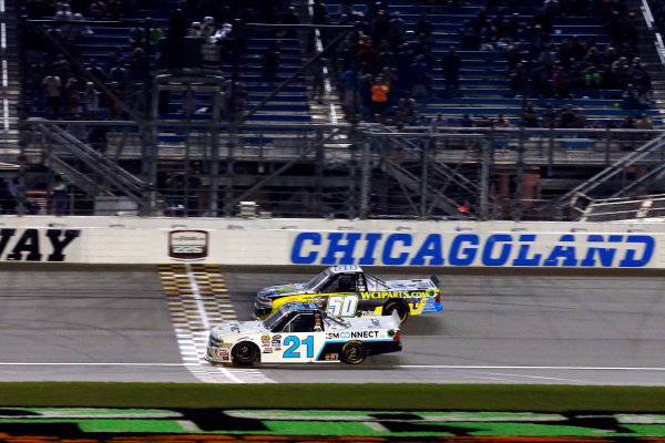 NASCAR Camping World Truck Series TheHouse.com 225 Chicagoland Speedway, Joliet, IL USA Friday 15 September 2017 Johnny Sauter, ISMConnect Chevrolet Silverado drives under the checkered flag to win World Copyright: Russell LaBounty LAT Images