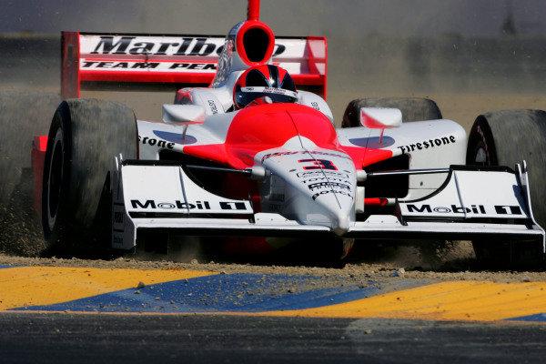 Helio Castroneves (BRA), Marlboro Team Penske Dallara Toyota, misses the corner during practice for the Argent Mortgage Indy Grand Prix. IRL IndyCar Series, Rd14, Argent Mortgage Indy Grand Prix, Infineon Raceway, Sonoma, California, USA. 26-28 August 2005. DIGITAL IMAGE