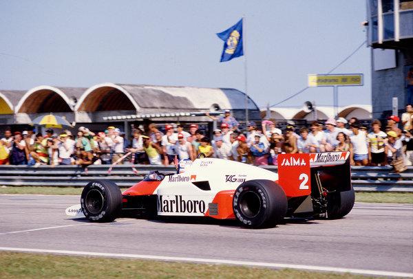 1985 Brazilian Grand Prix.Jacarepagua, Rio de Janeiro, Brazil.5-7 April 1985.Alain Prost (McLaren MP4/2B TAG Porsche) 1st position.Ref-85 BRA 41.World Copyright - LAT Photographic