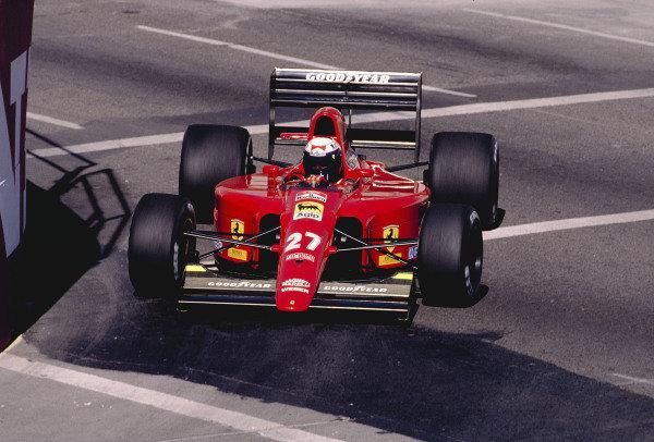 1991 United States Grand Prix.Phoenix, Arizona, USA.8-10 March 1991.Alain Prost (Ferrari 642) 2nd position.Ref-91 USA 41.World Copyright - LAT Photographic