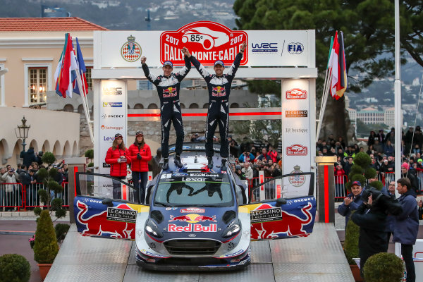2017 FIA World Rally Championship, Round 01, Rally Monte Carlo, January 18-22, 2017, Sebastien Ogier, Julien Ingrassia, Ford, Podium, Worldwide Copyright: McKlein/LAT