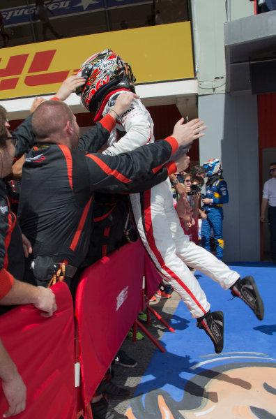 2017 FIA Formula 2 Round 2. Circuit de Catalunya, Barcelona, Spain. Sunday 14 May 2017. Race winner Nobuharu Matsushita (JPN, ART Grand Prix) celebrates victory Photo: Jed Leicester/FIA Formula 2. ref: Digital Image JL1_0355