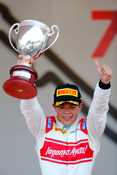 2017 FIA Formula 2 Round 3. Monte Carlo, Monaco. Saturday 27 May 2017. Nyck De Vries (NED, Rapax) lifts his trophy on the podium after winning the race. World Copyright: Glenn Dunbar/LAT Images ref: Digital Image _31I9752