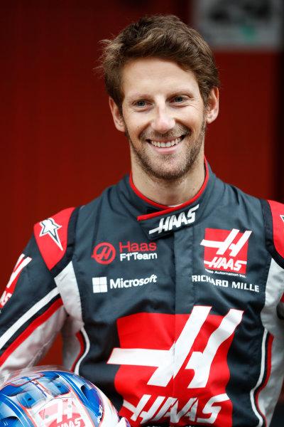 HAAS F1 Car Formula 1 Launch. Barcelona, Spain  Monday 27 February 2017. Romain Grosjean, Haas F1.  World Copyright: Dunbar/LAT Images Ref: _31I0008