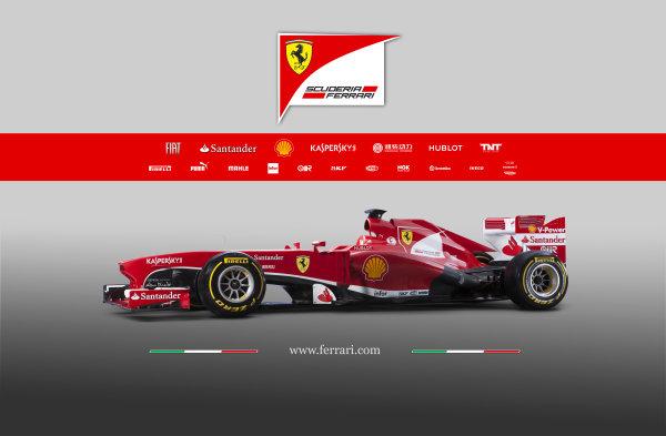 Maranello, Italy   The new Ferrari F138. Studio image. Photo: Ferrari (  ref: Digital Image 130007_f138