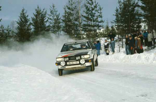 Swedish Rally, Sweden. 11-13 February 1983. Stig Blomqvist/Bjorn Cederberg (Audi 80 Quattro), 2nd position. World Copyright: LAT Photographic