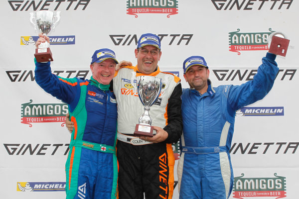 Ginetta GT4 Supercup, Silverstone, 17th-18th September 2016, Podium, Chris Ingram (GBR) Douglas Motorsport Ginetta G55, Colin White (GBR) CWS 4x4 Spares Ginetta G55, David Brooks (GBR) World Copyright. Ebrey/LAT Photographic