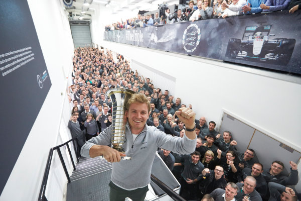 2016 Mercedes AMG F1 World Championship Celebrations. Mercedes F1, Brackley, UK Thursday 1st December 2016. F1 World Champion Nico Rosberg pays a visit to the factory with the FIA trophy. Photo: Steve Etherington/LAT Photographic ref: Digital Image SNE22607