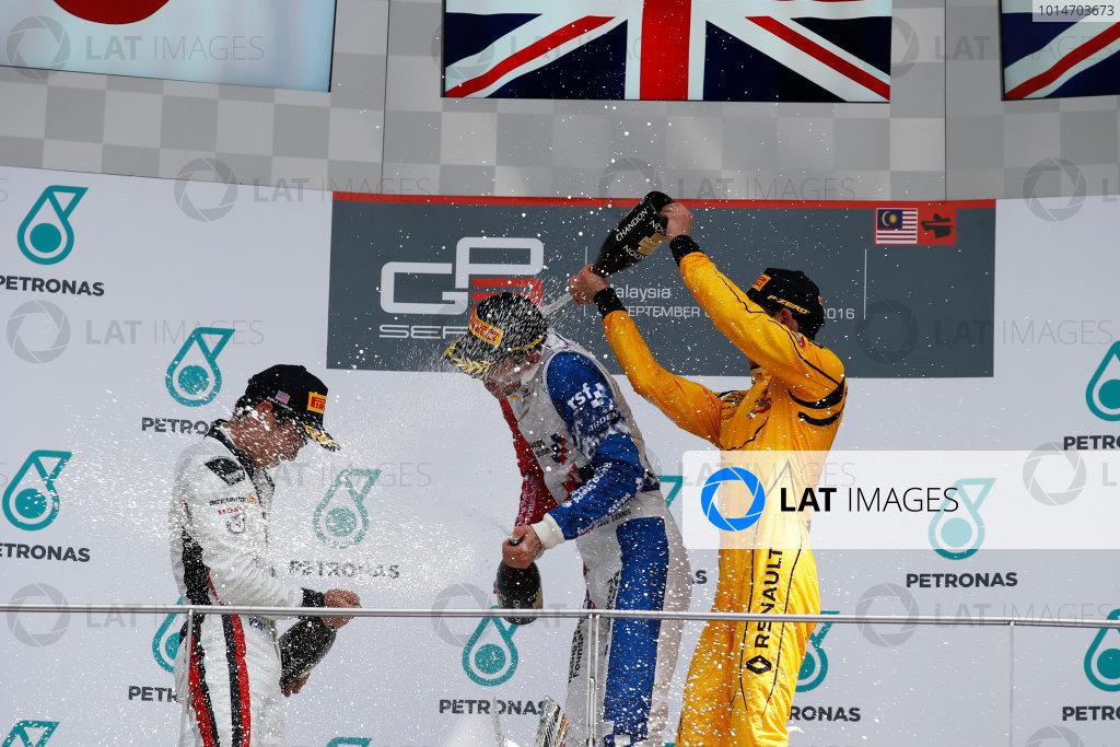 Jake Dennis (GBR, Arden International) Nirei Fukuzumi (JPN, ART Grand Prix) and Jack Aitken (GBR, Arden International)  2016 GP3 Series Round 8 Sepang International Circuit, Sepang, Malaysia. Sunday 2 October 2016  Photo: Sam Bloxham/GP3 Series Media Service ref: Digital Image _SLA4841