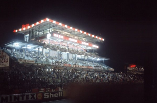 1968 Le Mans 24 hours. Le Mans, France. 28-29 September 1968. The main grandstand at night. Atmosphere. World Copyright: LAT Photographic Ref: 68LM36