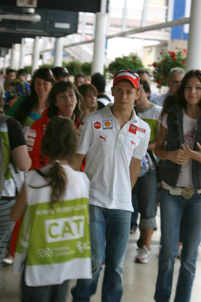 Circuit de Catalunya, Barcelona, Spain.5th June 2008.Casey Stoner Ducati Marlboro Team arrives at the press conference with his wife Adriana.World Copyright: Martin Heath / LAT Photographicref: Digital Image Only