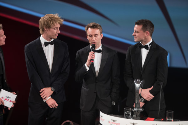 2017 Autosport Awards Grosvenor House Hotel, Park Lane, London. Sunday 3 December 2017. WEC Champions Brendon Hartley, Timo Bernhard and Earl Bamber on stage. World Copyright: Joe Portlock/LAT Images  ref: Digital Image _R3I6342