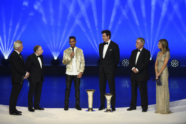 FIA Prize Giving Versailles, France. December 8, 2017. Lewis Hamilton with Toto Wolff, Jean Todt and Chase Carey during the FIA Prize Giving at Versailles on December 8 2017. World Copyright: Jean Marie Hervio / DPPI / FIA Image ref: Digital image auto---fia-prize-giving---versailles-2017_38932392701_o