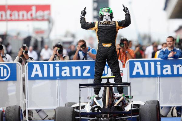 Circuit de Catalunya, Barcelona, Spain. 13th May 2012. Sunday Race. Conor Daly (USA, Lotus GP) celebrates his victory. World Copyright: Alastair Staley/GP3 Media Service. Ref: Digital Image AS5D1724.jpg