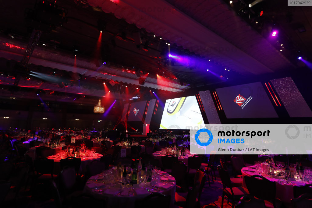 The main stage with Bahrain International Circuit sponsor logos on screen