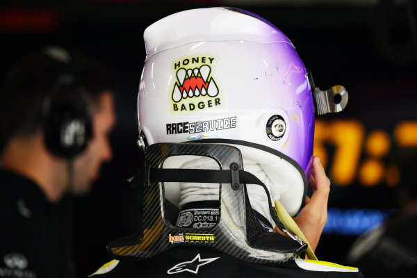 "Helmet detail of Daniel Ricciardo, Renault F1, including a ""Honey Badger"" sticker"