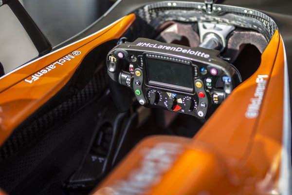 McLaren MCL32 steering wheel at Formula One World Championship, Rd17, United States Grand Prix, Preparations, Circuit of the Americas, Austin, Texas, USA, Thursday 19 October 2017.