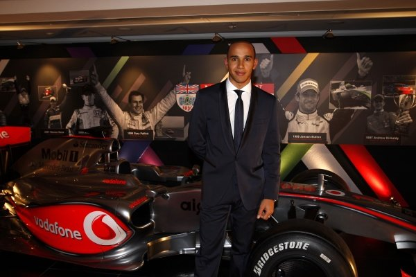 2009 Autosport Awards Grosvenor House Hotel, Park Lane, London  6th December 2009  Lewis Hamilton poses for a picture with his McLaren MP4-24. World Copyright: Alastair Staley/LAT Photographic