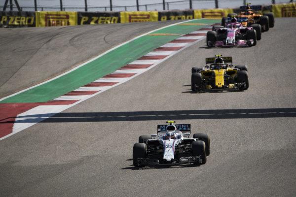 Sergey Sirotkin, Williams FW41, leads Carlos Sainz Jr., Renault Sport F1 Team R.S. 18, Esteban Ocon, Racing Point Force India VJM11, and Stoffel Vandoorne, McLaren MCL33