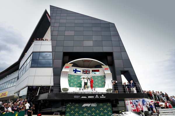 Valtteri Bottas, Mercedes AMG F1, Race winner Lewis Hamilton, Mercedes AMG F1 and Charles Leclerc, Ferrari on the podium