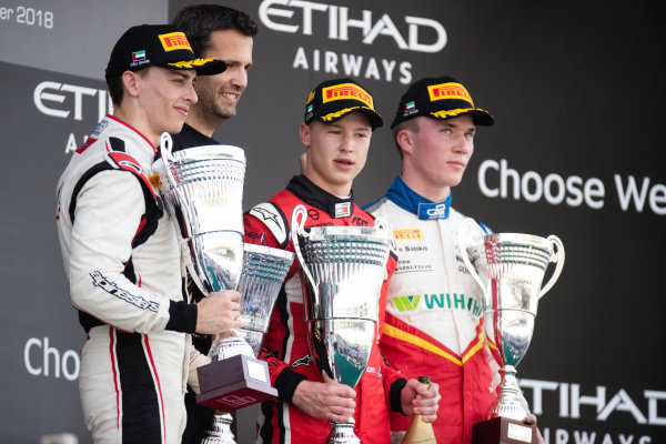 Nikita Mazepin (RUS, ART Grand Prix) Jake Hughes (GBR, ART Grand Prix) and Simo Laaksonen (FIN, Campos Racing)