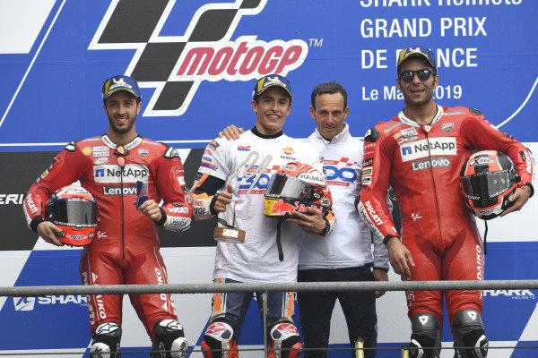 Podium: race winner Marc Marquez, Repsol Honda Team, second place Andrea Dovizioso, Ducati Team, third place Danilo Petrucci, Ducati Team, Alberto Puig, Repsol Honda Team Team Principal.