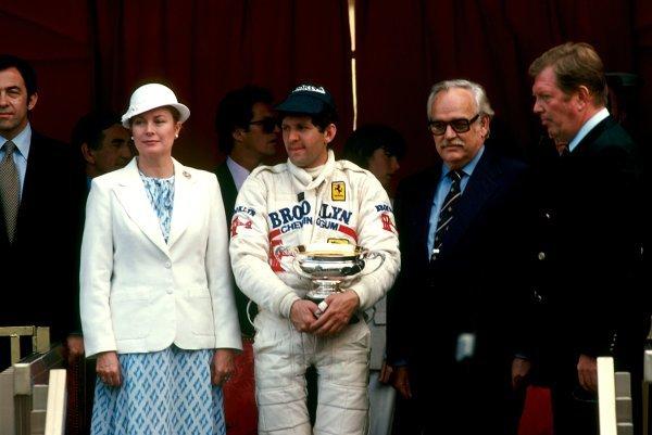 Jody Scheckter (RSA) Ferrari celebrates his win on the podium with HSH Princess Grace of Monaco (Left) and HSH Prince Rainier of Monaco (Right). Monaco Grand Prix, Rd 7, Monte Carlo, Monaco, 27 May 1979. BEST IMAGE