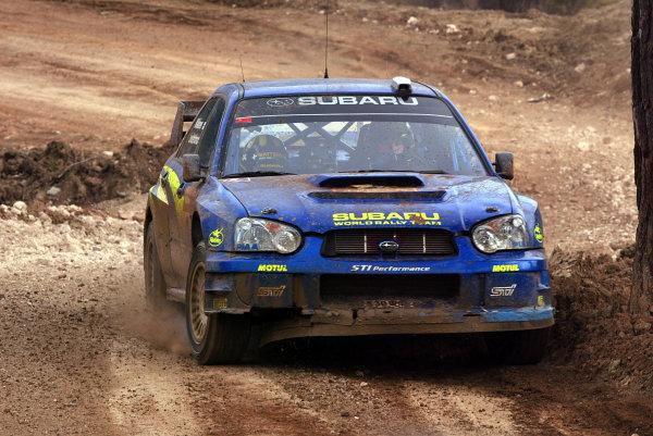 2003 FIA World Rally Championship. Kemer, Turkey. Rd3.26/2-2/3 2003.Tommi Makinen/Kaj Lindstrom (Subaru Impreza WRC '03) 8th position. World Copyright: McKlein/LAT Photographic