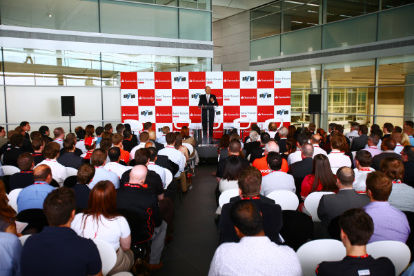 McLaren Technology Centre, Woking, UK30th June 2011Ron Dennis, McLaren Automotive addresses teh fans from the stage. Portrait.Photo Credit: FOTAref: Digital Image IMG_4480