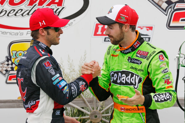 22-23 June, 2013,Newton, Iowa, USA Marco Andretti congratulates James Hinchcliffe in victory lane .(c) 2013, Perry Nelson LAT Photo USA