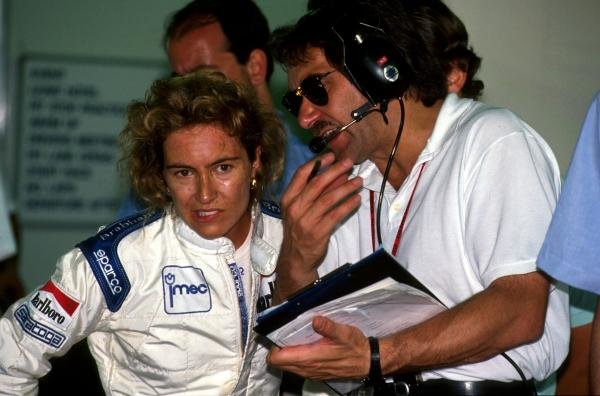 Giovanna Amati (ITA) left, with her engineer.