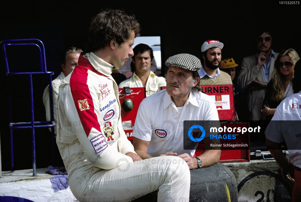 Tony Brise with team boss Graham Hill.