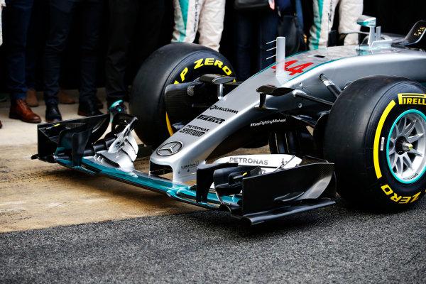 Circuit de Catalunya, Barcelona, Spain Monday 22 February 2016. Mercedes F1 W07 Hybrid nose. World Copyright: Glenn Dunbar/LAT Photographic ref: Digital Image _W2Q0639