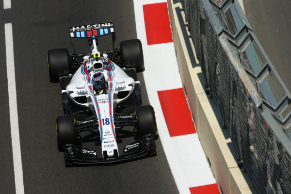Baku City Circuit, Baku, Azerbaijan. Friday 23 June 2017. Lance Stroll, Williams FW40 Mercedes. World Copyright: Charles Coates/LAT Images ref: Digital Image DJ5R2657