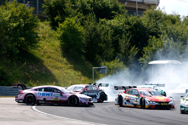 2017 DTM Round 3 Hungaroring, Budapest, Hungary. Saturday 17 June 2017. Crash, Lucas Auer, Mercedes-AMG Team HWA, Mercedes-AMG C63 DTM, Nico Müller, Audi Sport Team Abt Sportsline, Audi RS 5 DTM, Augusto Farfus, BMW Team RMG, BMW M4 DTM World Copyright: Alexander Trienitz/LAT Images ref: Digital Image 2017-DTM-R3-HUN-AT2-0927