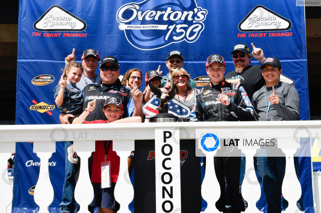 NASCAR Camping World Truck Series Overton's 150 Pocono Raceway, Long Pond, PA USA Saturday 29 July 2017 Christopher Bell, SiriusXM Toyota Tundra, celebrates in victory lane. World Copyright: John K Harrelson LAT Images
