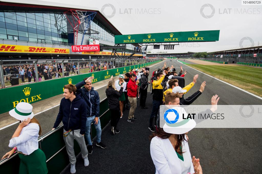 2017 FIA Formula 2 Round 6. Silverstone, Northamptonshire, UK. Saturday 15 July 2017. Drivers parade. Photo: Zak Mauger/FIA Formula 2. ref: Digital Image _54I5369