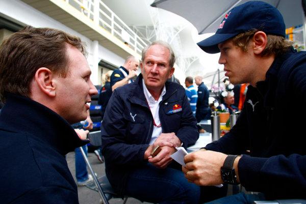 Interlagos, Sao Paulo, Brazil1st November 2008Sebastian Vettel, Toro Rosso STR03 Ferrari, with Christian Horner, Team Principal, Red Bull Racing. Portrait. World Copyright: Charles Coates/LAT Photographicref: Digital Image _26Y8686