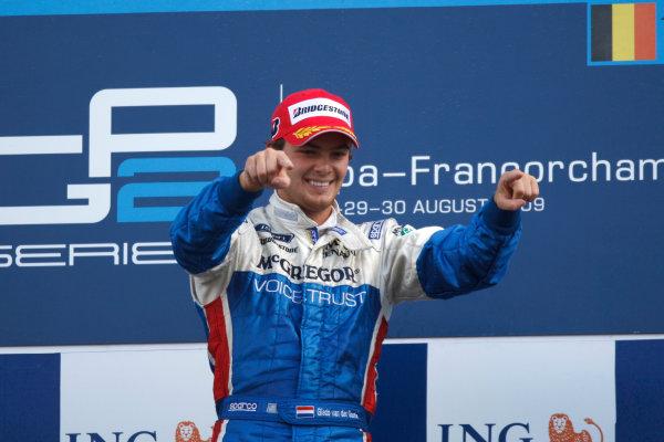 Spa-Francorchamps, Spa, Belgium. 30th August 2009.Sunday Race.Giedo  Van der Garde (NED, iSport International) celebrates his victory on the podium. World Copyright: Andrew Ferraro / GP2 Series Media Service.Ref: _H0Y0172 jpg