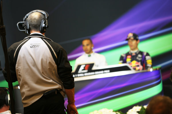 Spa-Francorchamps, Spa, Belgium. 24th August 2013. Lewis Hamilton, Mercedes AMG, and Sebastian Vettel, Red Bull Racing, in the post qualifying Press Conference. World Copyright: Sam Bloxham/LAT Photographic. ref: Digital Image BH2I0348.
