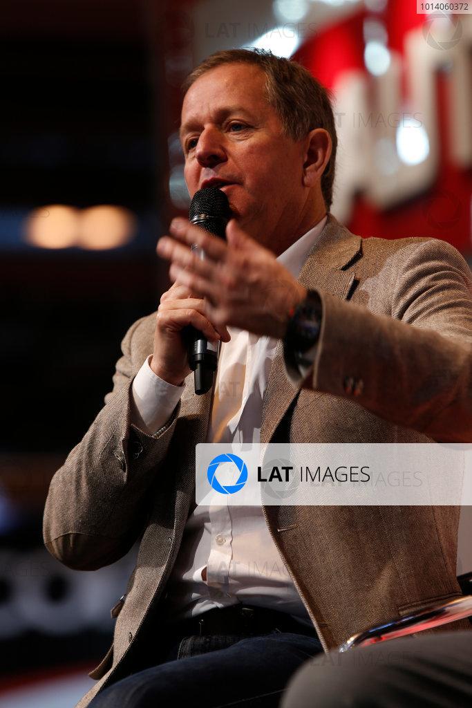Autosport International Show NEC, Birmingham.  Sunday 12 January 2014. Martin Brundle on the stage. World Copyright:Sam Bloxham/LAT Photographic ref: Digital Image _SBL2750