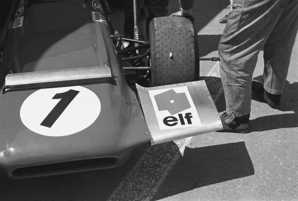 1970 Spanish Grand Prix. Jarama, Madrid, Spain. 17th - 19th April 1970. The front wing on Jackie Stewart's March 701-Ford, detail. World Copyright: LAT Photographic. Ref: 2996 - 10.