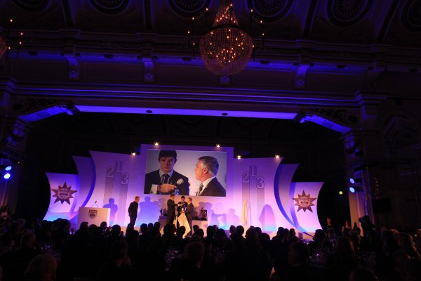 Grand Connaught Rooms, London, England. 3rd December 2012. The Chris Bristow Trophy winner, Jake Dennis with Derek Warwick on stage. World Copyright: Jakob Ebrey/LAT Photographic ref: Digital Image Dennis_008