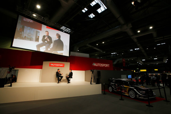 Autosport International Exhibition. National Exhibition Centre, Birmingham, UK. Friday 12th January 2018. Mario Isola of Pirelli talks to Henry Hope-Frost on the Autosport Stage. World Copyright: Joe Portlock/LAT Images Ref: _L5R8975